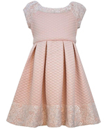 Bonnie Jean Little Girls 2T-6X Pink Foil and Lace Quilted Box Pleat Social Dress - $37.90