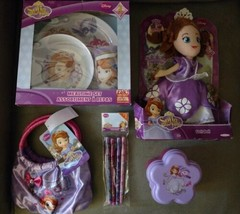 Disney Sofia the First lot NIP Doll Purse Mealtime Set Pencils Snack Cup... - $38.61