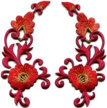 Red orange trim flowers boho art deco appliques iron-on patches pair new... - $2.62