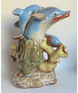 Dolphin Trio Ceramic Figurine Marine Curio - $35.63
