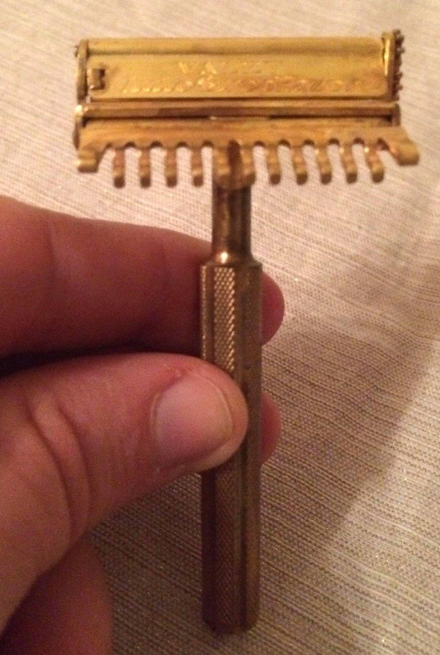 Vintage Valet Auto Strop Safety Razor Brass Dated April 9 1912 Made in the USA