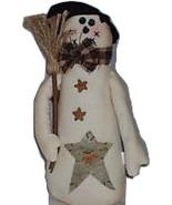 "Primitive 13"" Snowman Stars Broom Black Top Hat Bow Tie Bean Bottom Emb.... - $10.88"
