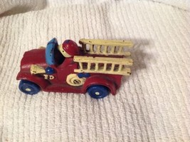"Vintage 4"" Red Toy Fire Truck Engine FD Cast Iron - $42.52"