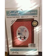 """Lynn Craft Follow Your Heart 50-144 Embroidery Counted Cross Stitch 5"""" x... - $6.79"""