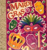 Static Window Clings New Mardi Gras Purple Green Masks Crown New Orleans - $8.42