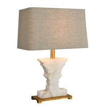 "21"" H Horchow White Alabaster & Gold Gorgeous Table Lamp, Tan Linen Hard... - $315.81"