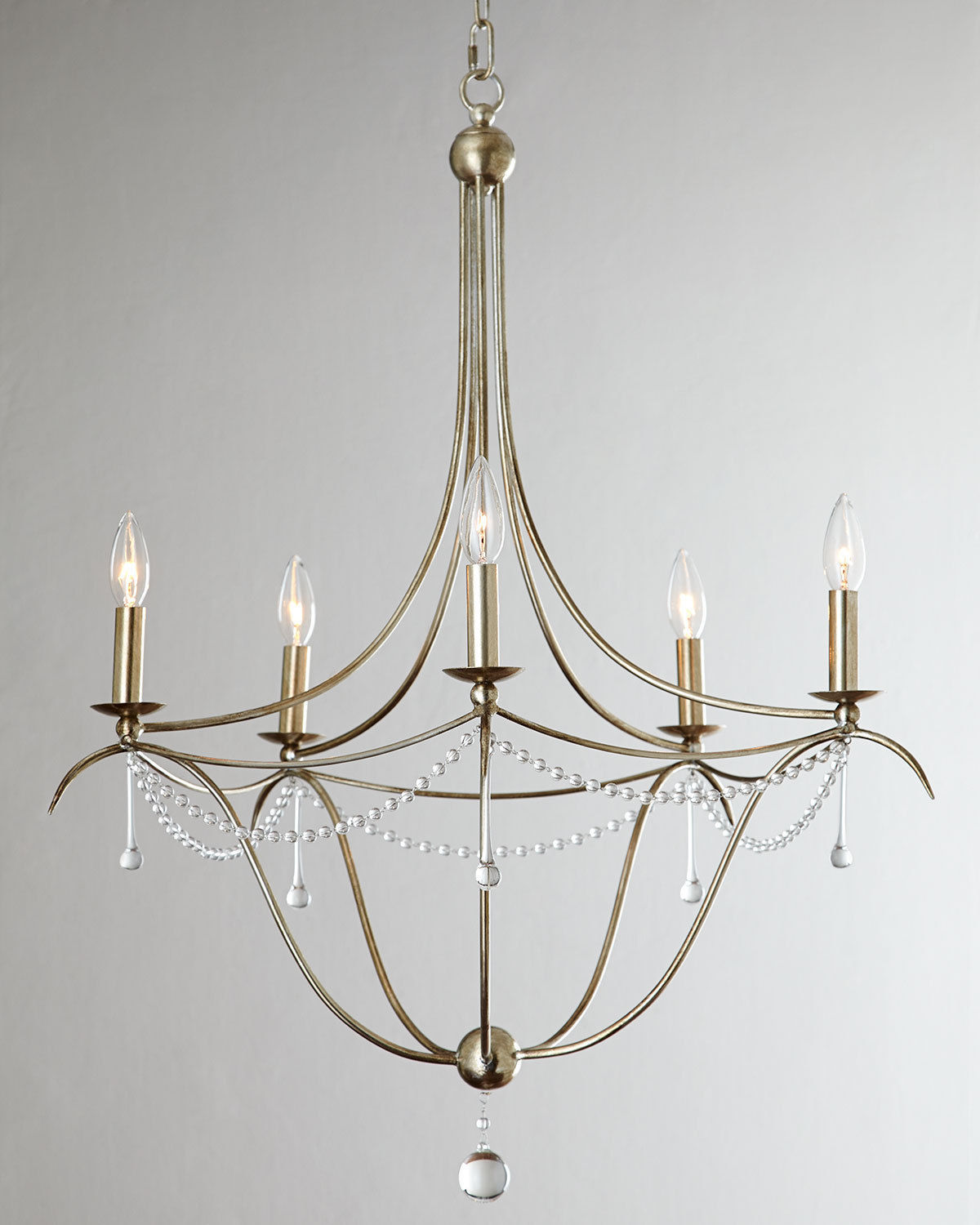 Primary image for Horchow  Antique Silver Murano Glass Drops Beaded Candle Chandelier $970