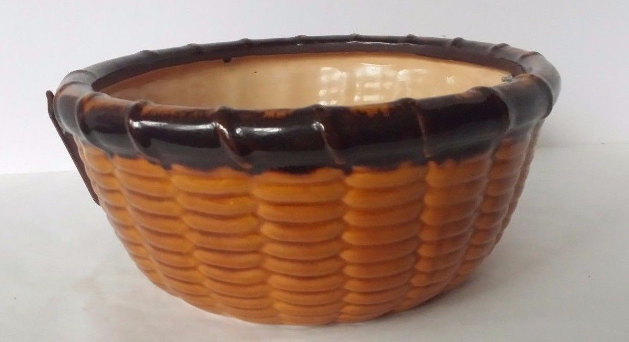 Ceramic Corn Bowl with Metal Handle Thanksgiving Fall