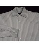Ermenegildo Z Zegna City Men Gray Stripe Long Sleeve Shirt 16 41 VGUC - $35.99