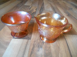 Old Vintage Federal Iridescent Glass Normandie Bouquet & Lattice Creamer... - $9.99