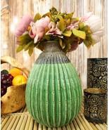 "11""Tall Glazed Ceramic Southwestern Desert Bulbous Cactus Oval Floral Vase - $41.99"