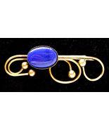 Vintage Arts & Crafts Brooch Royal Blue Glass Unique Brass Huge Brooch - $27.00