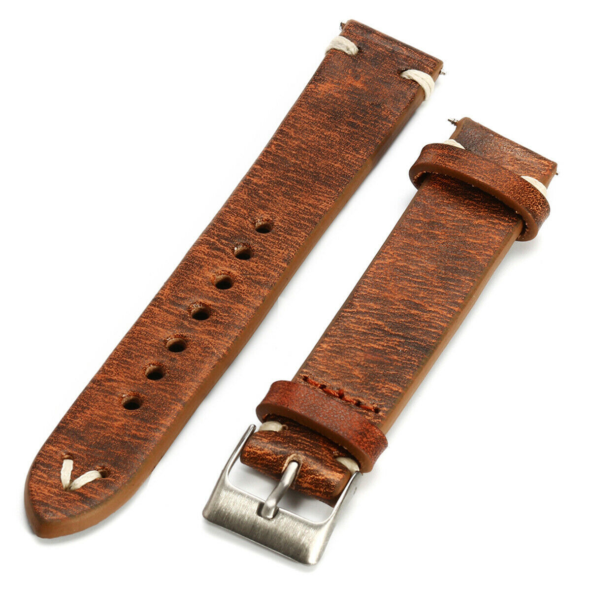 Primary image for Straps Vintage Style Distressed Leather Wome/Men Watch Band Strap with Stitching