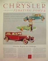 1932 Chrysler Eight Sedan & Six Convertible Floating Power Print Ad - $9.99