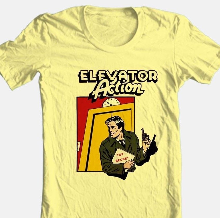 Elevator action tshirt retro arcade video game yellow graphic tee