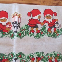 Vintage Cotton Christmas Fabric Piece Border Pattern  Elves Pixies Gnome... - $14.85