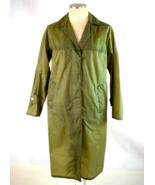 Vtg 80s Windbreaker Trench Coat Olive Green Nylon Duster Rain Jacket Men... - $29.69