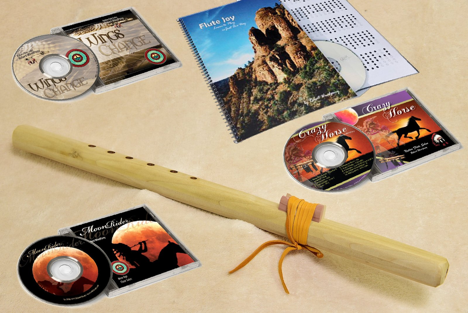 Windpony Unfinished Poplar Flute in the Key of F# with Instruction Book and 3 Fl