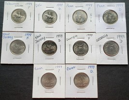 Lot of 10x 1999 USA State Quarter Dollars - P & D Mints - Mint Condition - $5.39