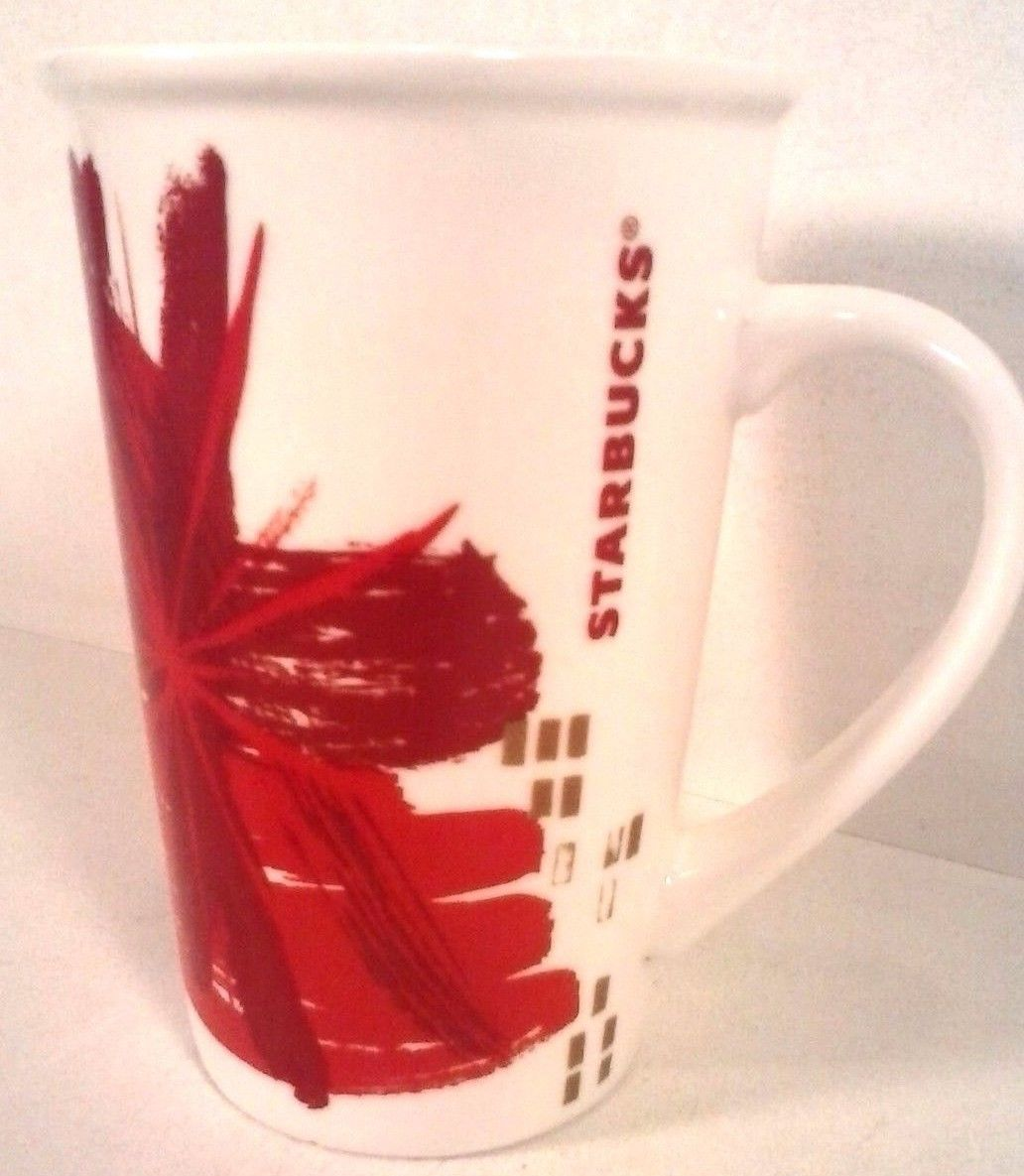 STARBUCKS COLLECTIBLE CERAMIC CHRISTMAS COFFEE MUG RED WHITE 2014, 12 OZ.