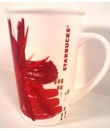 STARBUCKS COLLECTIBLE CERAMIC CHRISTMAS COFFEE MUG RED WHITE 2014, 12 OZ. - $9.95