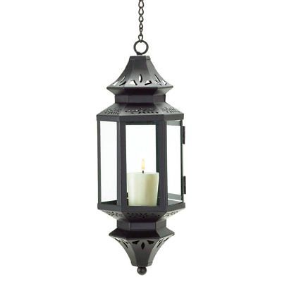 Candle Lantern, Moroccan Outdoor Glass Metal Hanging Lantern, With Long Chain