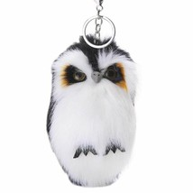 Cute Keychain Artificial Fur Fluffy Owl Pendant Keyring Car Bags Hang De... - $8.05