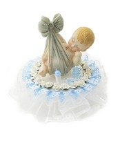 Baby Boy in a Blanket Shower Birthday Cake Top Blue Accent - $24.70