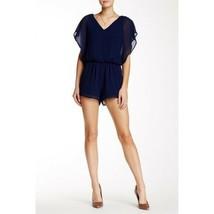 Dee Elly Women`s Size M Navy Blue Elasticized Chiffon Short Sleeve V-nec... - €22,14 EUR