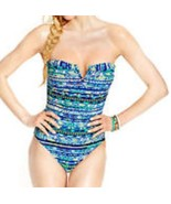 Jessica Simpson Einteiler Größe XL Blau Raz Multi Badeanzug Bandeau - $39.52