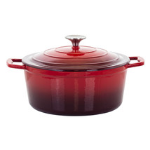 MegaChef 4 Quarts Round Enameled Cast Iron Casserole with Lid in Red - $94.06