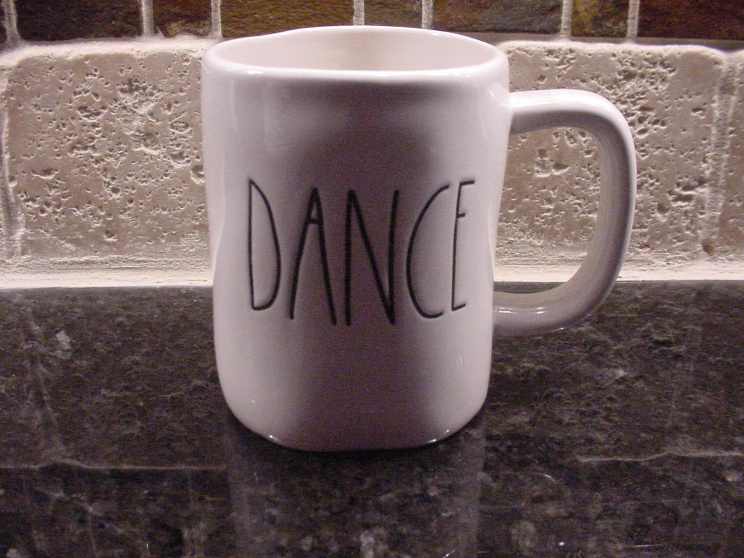 Rae Dunn DANCE Mug, Ivory with Black Lettering