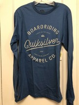 Quiksilver Mens T-Shirt BLUE Size SMALL  Graphic Print Long-Sleeve BNWTS - $9.89
