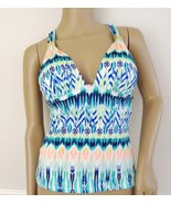Nwt Bar III Halter T Back Swimsuit Tankini Top Sz L Large  Ikat Even Jad... - $18.76