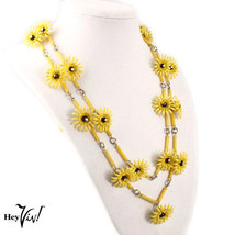 """Yellow Daisy Chain 18"""" Necklace - Vintage 60s Plastic Flowers & Beads - ... - $22.00"""