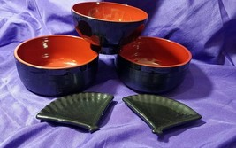 Vintage Lacquer Soup Rice Bowls Black Red 2 Small Black Ceramic Fan Sauc... - $22.87