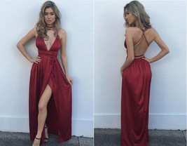 Modest Prom Dress Sexy Burgundy Maxi dress,v neck evening dress formal dress - $139.00