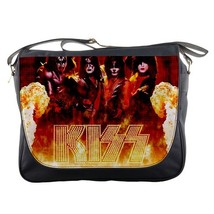 Messenger Bag Kiss Band Logo American Hard Rock New York Music In Fire Design A - $30.00