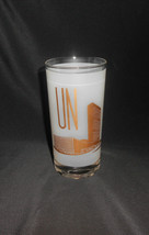 Vintage UNITED NATIONS GLASS TUMBLER Frosted & Gold Design UN Logo & NY ... - $14.25