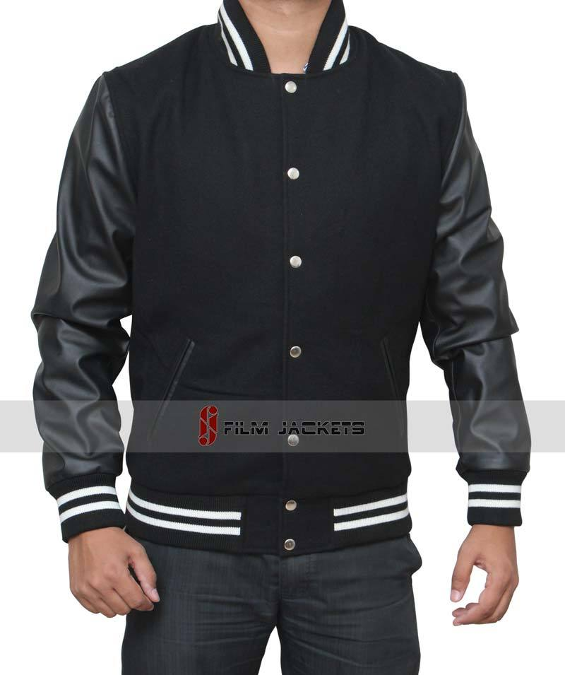 Black leather letterman jacket