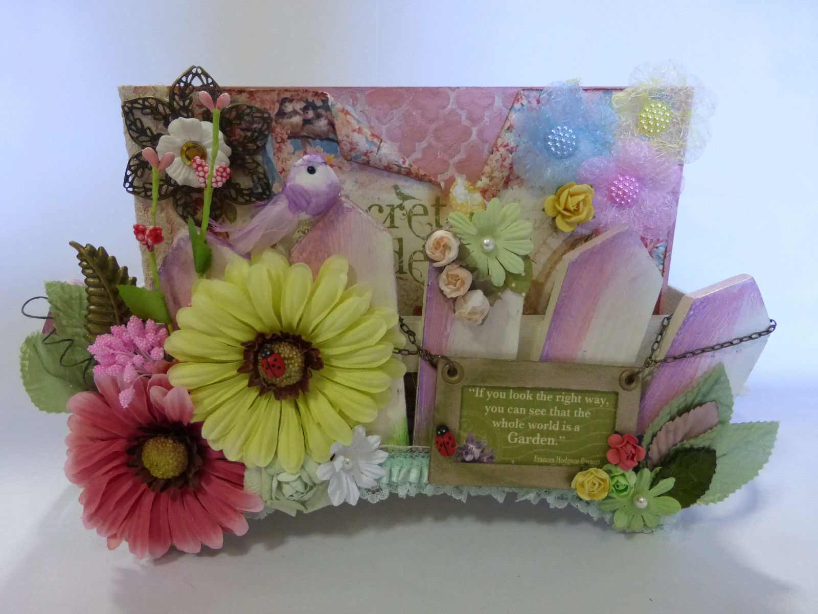 "Primary image for Graphic 45 handmade mini album SECRET GARDEN w/box 9""X6"" flowers embellishment"