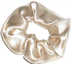 Champagne Satin Hair Scrunchie Scrunchies by Sherry Ponytail Holder Tie - $6.99