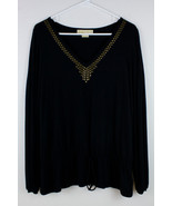 MICHAEL KORS SHIRT TOP BLOUSE PEASANT STUDS WOMEN'S SIZE MEDIUM BLACK WA... - $24.49