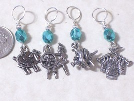 sheep knitting stitch markers, pewter charm,4.5,6.5mm sizes,spinning whe... - $11.77