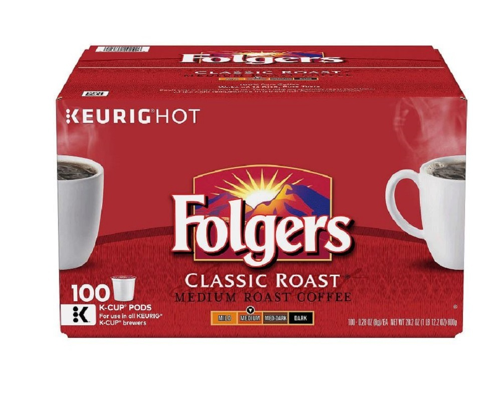 Folgers Coffee Classic Roast 100 K-Cup Keurig Hot Single Serve Brewing Pods Cups