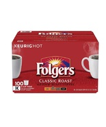 Folgers Coffee Classic Roast 100 K-Cup Keurig Hot Single Serve Brewing P... - $58.49