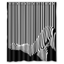 Zebra Barcode Pattern #01 Shower Curtain Waterproof Made From Polyester - $29.07+