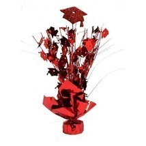 "2 Metallic Red hats Graduation Balloon Weights 15"" tall centerpiece decoration - $9.85"