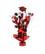 2 Metallic Red hats Graduation Balloon Weights ... - $9.85