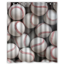 Baseball Pattern #01 Shower Curtain Waterproof Made From Polyester - $29.07+